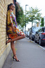 Load image into Gallery viewer, Carla African Orange print Tunic Ankara midi dress.