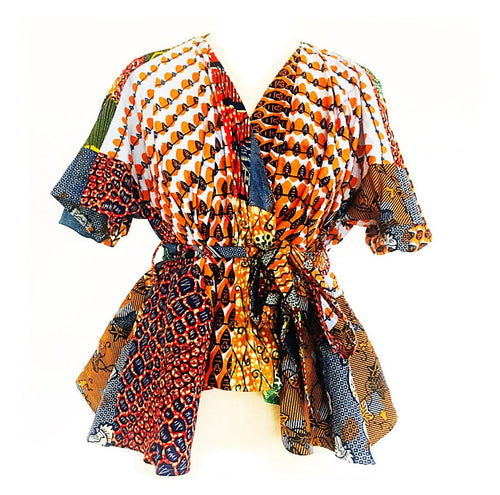 Orange high low hem African Print  wrap top.