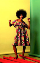 Load image into Gallery viewer, Abigail off shoulder pink  flared African print dress - SOSOME