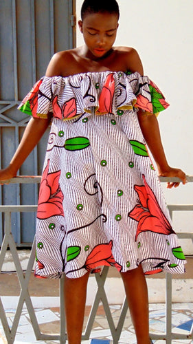 Pink flower Abigail Ankara dress off shoulder flared white African print dress.