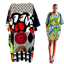 Load image into Gallery viewer, African print silk midi dress  tunic styles - SOSOME