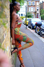 Load image into Gallery viewer, Elie orange pocket bodycon African print jumpsuit.