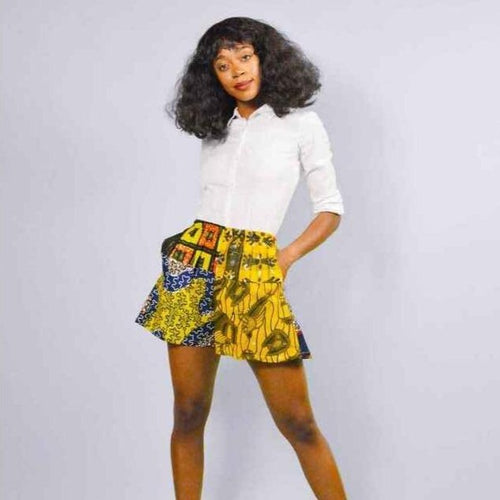 Elie  yellow flare African print women's shorts.