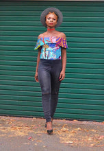 Load image into Gallery viewer, Kylie African top off shoulder blue crop.