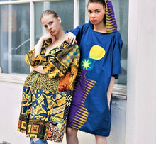 Load image into Gallery viewer, Blue African print hood unisex tunic dress - SOSOME