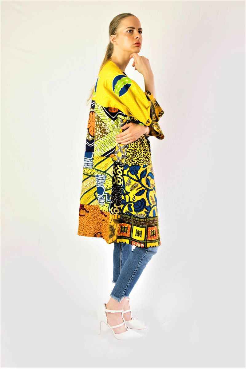 California yellow African print jacket.