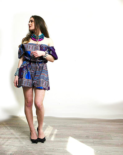 Purple African playsuits Angelina Dashiki off shoulder style.