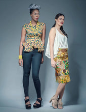 Load image into Gallery viewer, Charlie pink high low peplum  African print top.