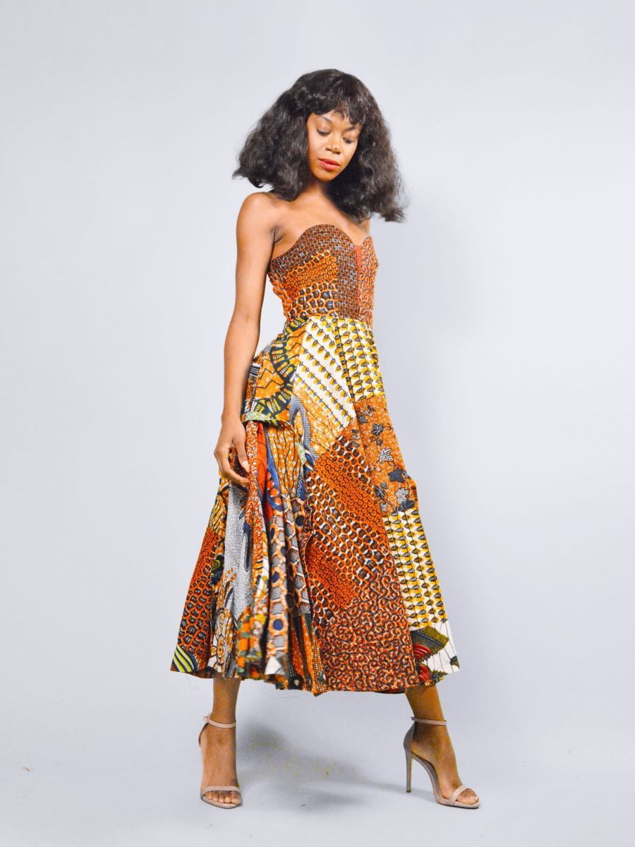 Mia orange African print shoulder fit and flare gown - SOSOME