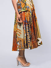 Load image into Gallery viewer, Mia orange African print shoulder fit and flare gown - SOSOME