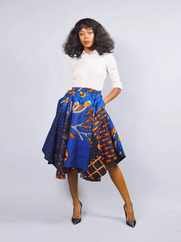 Audrey  blue high low African print midi skirt - SOSOME