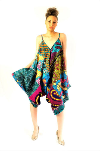 Aladdin Olive blue African mix print jumpsuit - SOSOME