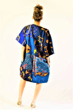 Load image into Gallery viewer, Carla African Blue print Tunic Ankara dress.