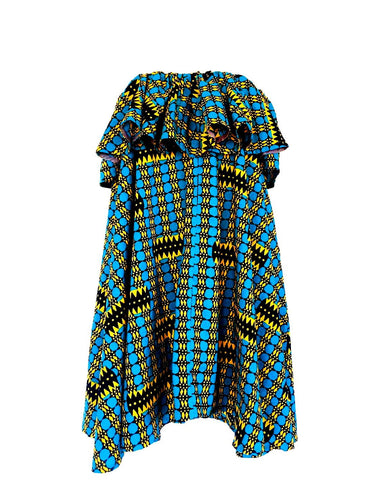 Off shoulder blue check Abigail  flared African print dress - SOSOME