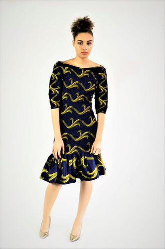 Milika stretch con mini blue African print dress - SOSOME