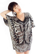 Load image into Gallery viewer, Sparkly Mariah Butterfly Black White women's oversized sequin Tunic Dress - SOSOME