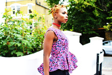 Load image into Gallery viewer, Charlie pink peplum African print top.