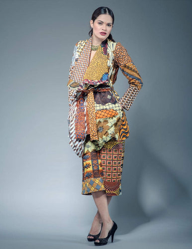 Waterfall long  midi  African print coat Jacket - SOSOME