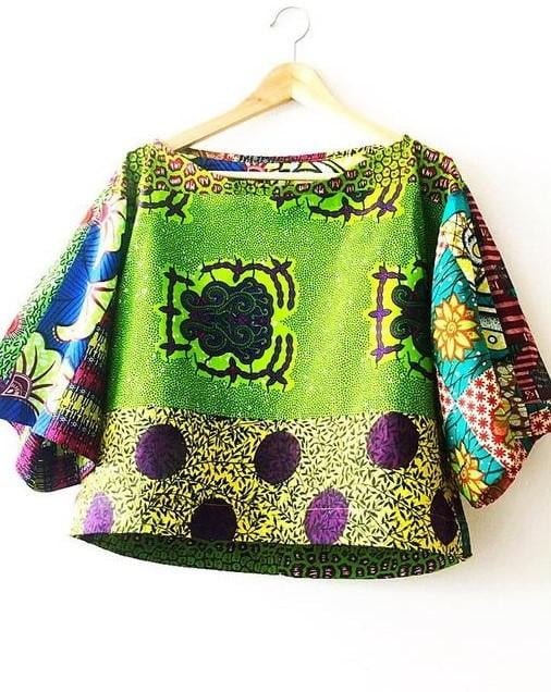 women's Kimono style Green Crop African print top - SOSOME