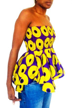 Load image into Gallery viewer, Tahlia African print tops peplum styles - SOSOME
