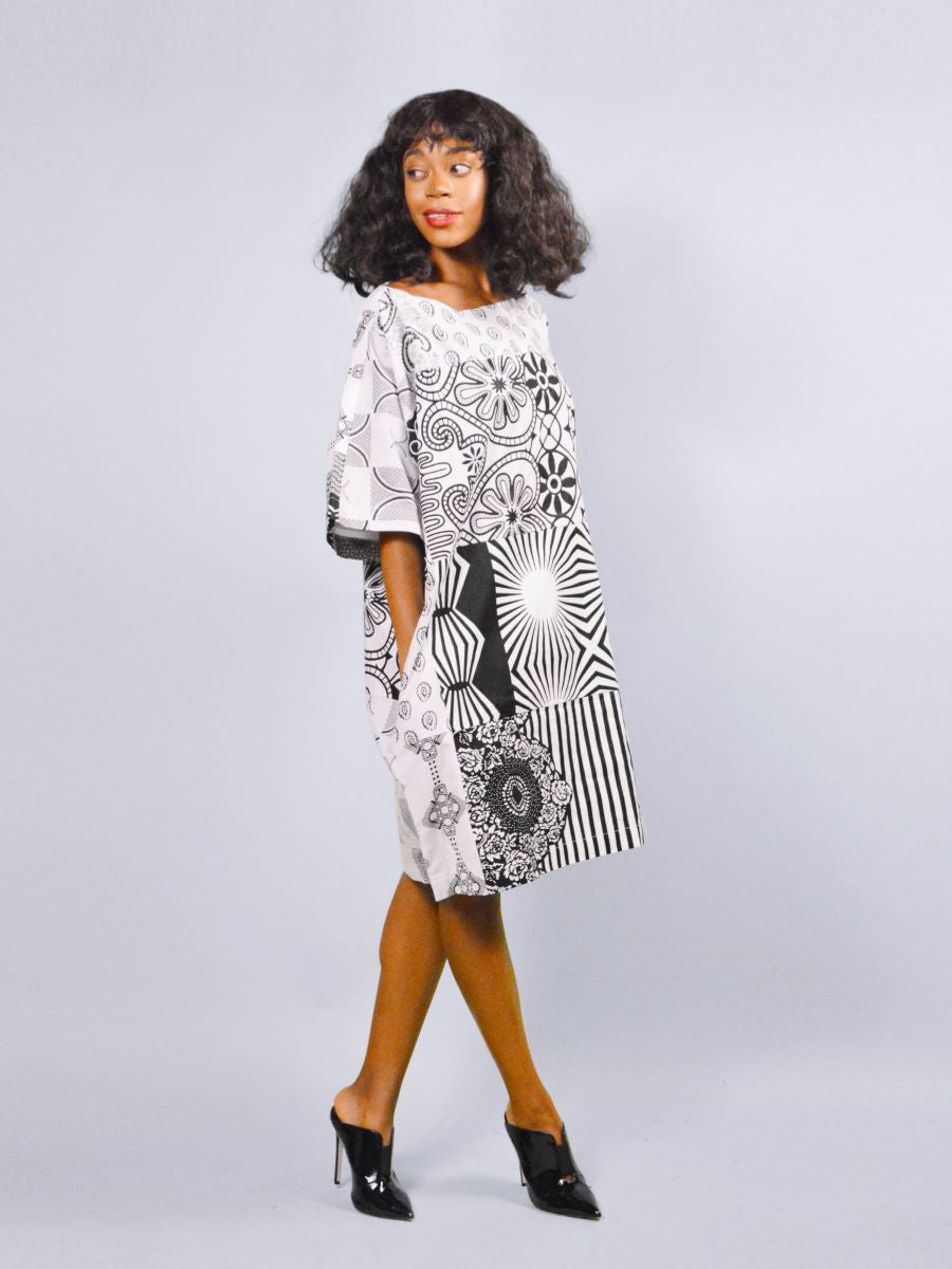Carla African white and black  print Tunic Ankara dress.