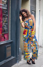 Load image into Gallery viewer, Diaz modern wide leg African print blue jumpsuit.