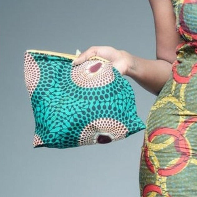 Naomi  make up African print bag.