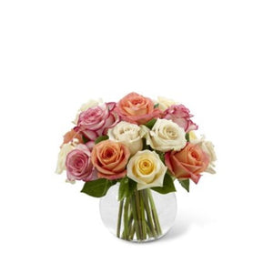 Cream, Pink, Orange Roses in a vase for a wonderful gift.