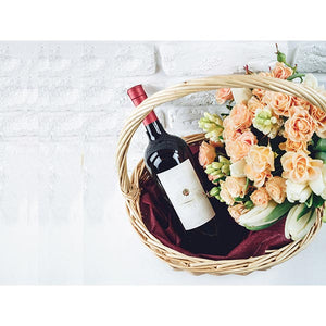 Gift Basket with Flowers and Wine