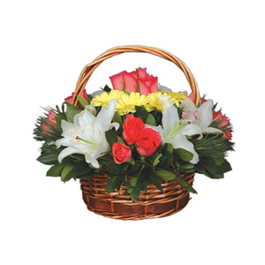Basket with Lilies and Roses