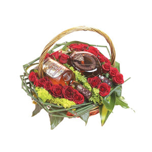 Basket with Drinks and Red Roses