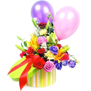 Bouquet in a gift box and balloons! A unique gift to send your wishes!