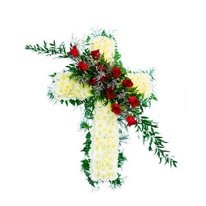 Cross with White Chrysanthemums