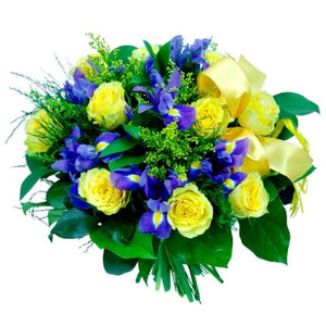 bouquet in yellow and blue shades