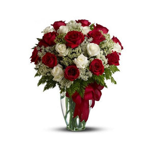 Lovely Bouquet of White and Red Roses