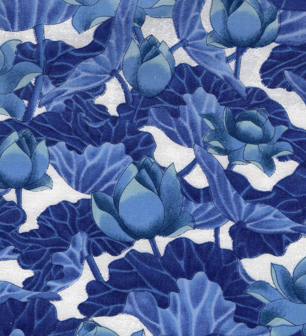Lotus Blossoms Blue / White flo350