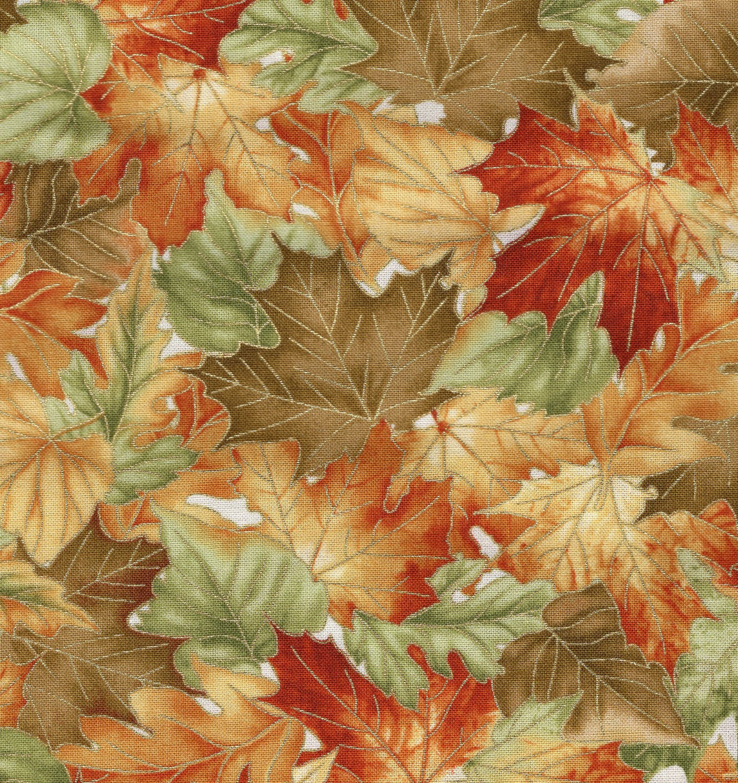 Autumn Leaves White / Gold Metallic flo375