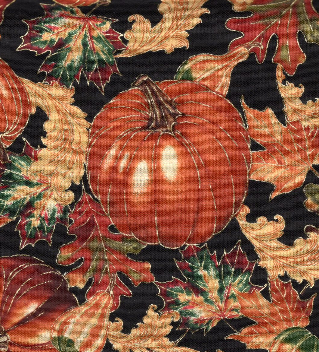 Harvest Pumpkins Black / Gold Metallic flo380