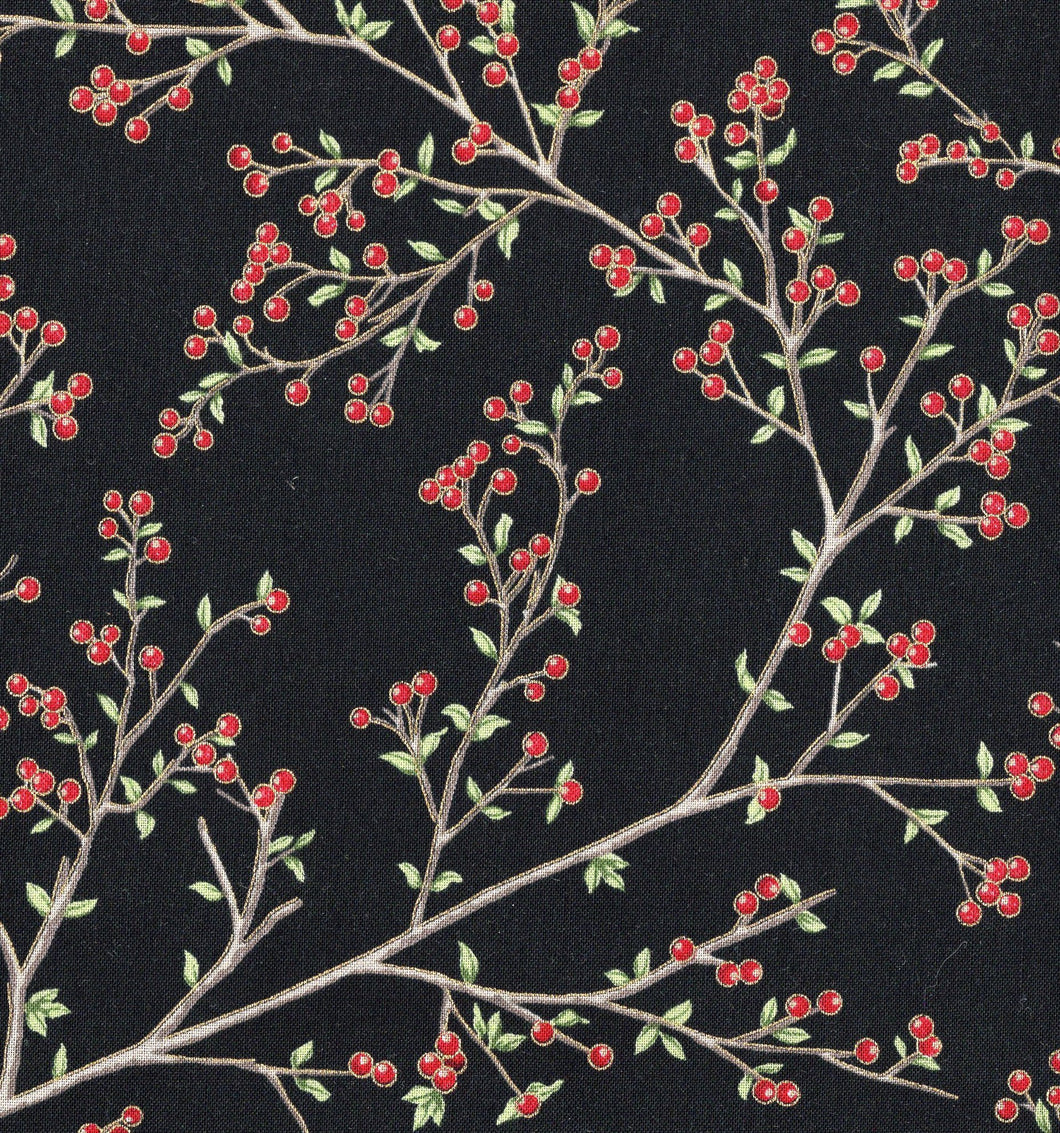 Berry Branches / Black / Gold Metallic ho541