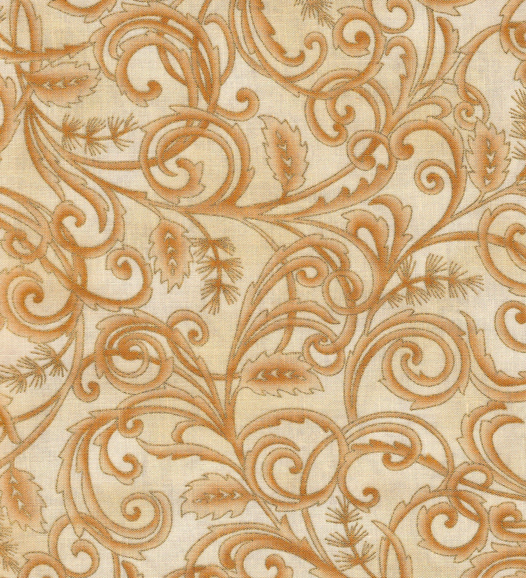 Swirls / Cream / Gold Metallic ho219