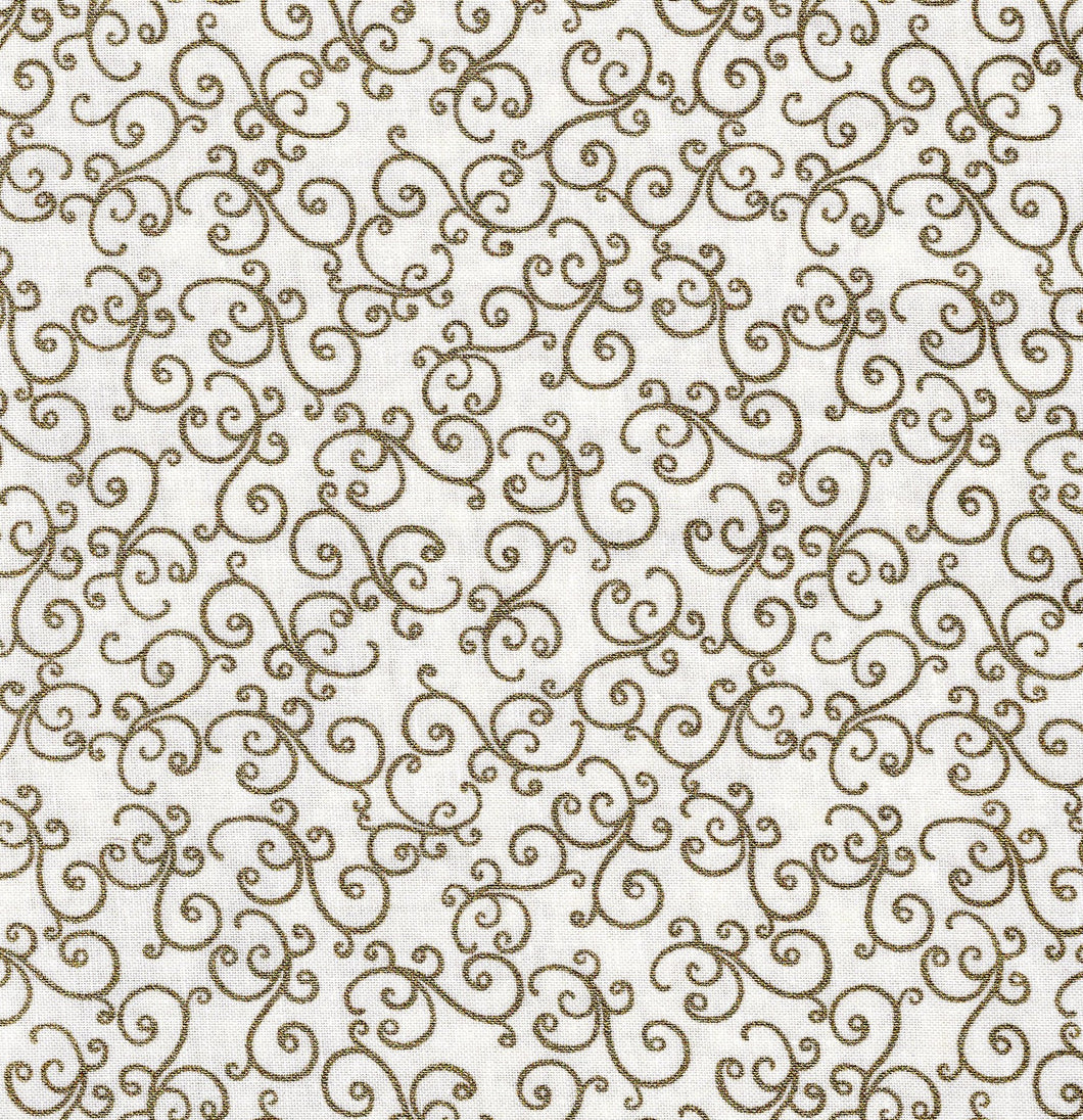 Holiday Swirls / Ivory / Gold Metallic ho555