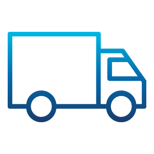 Blue outlined delivery van
