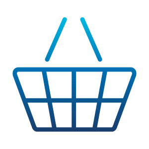 Blue outlined shopping basket