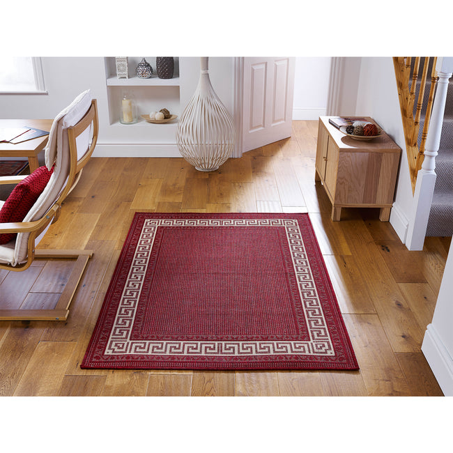 Large image of Greek Key Flatweave Red Rug 160x225 (Large)