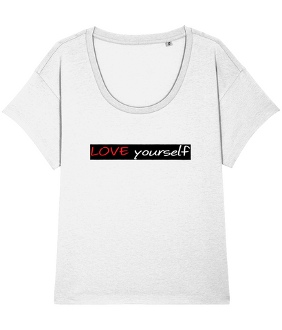 'LOVE yourself', Organic Women's T-shirt (Neck relaxed fit)