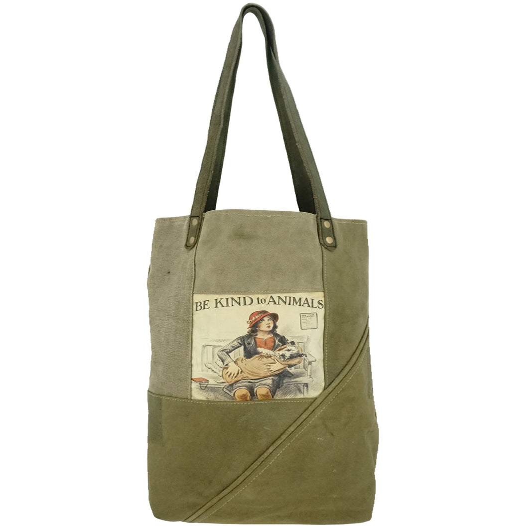 Be Kind To Animals Recycled Military Tent Tote