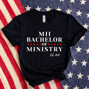 Bachelor of Ministry Established 2021 Jersey Short Sleeve Tee