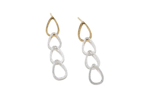 Deco Echo Earrings two colour Silver and Vermeil drops