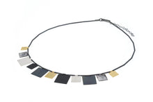 Load image into Gallery viewer, Square shape multi pendant necklace in 3 colour finish of Sterling Silver, black oxidised and yellow vermeil