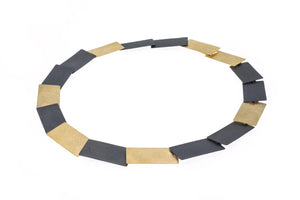 Large oblong link necklace in 2 colour finish of black oxidised and yellow vermeil